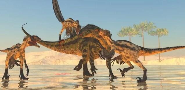 dinosaurios se atacan entre sí