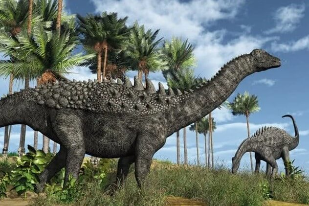 El Ampelosaurus era un herbívoro acorazado de cuatro patas.