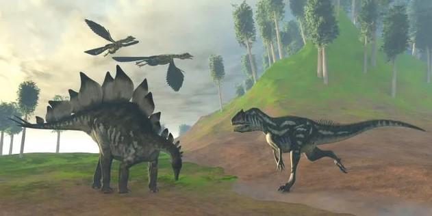 Un Allosaurio atacando a un Estegosaurio