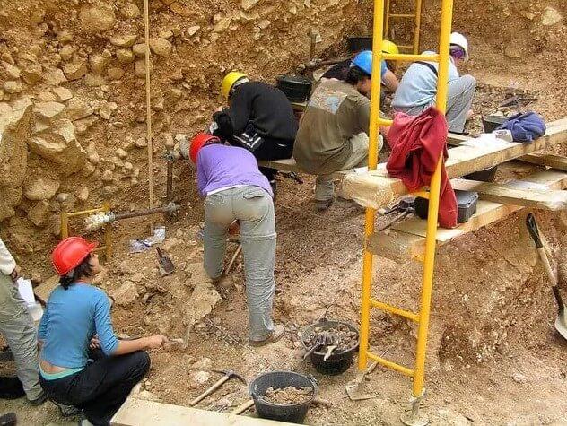 paleontólogos en el campo