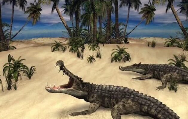 cocodrilos y dinosaurios conviviendo